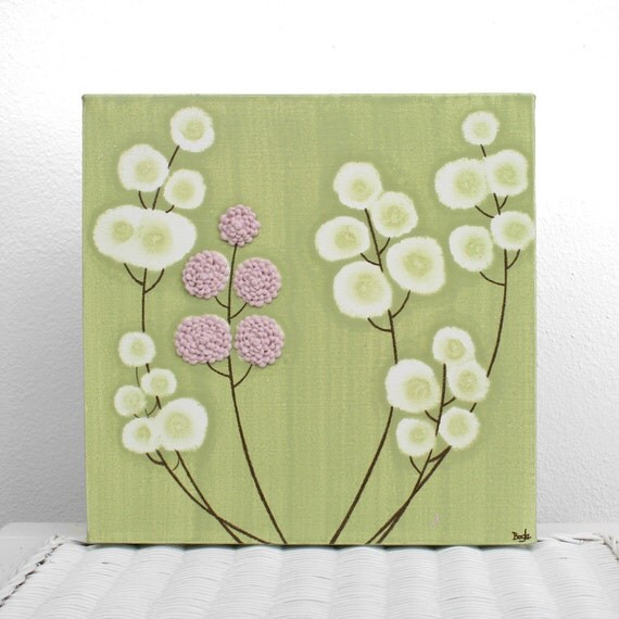 Pink And Green Wall Decor For Nursery : Pink and green nursery art textured flower wall