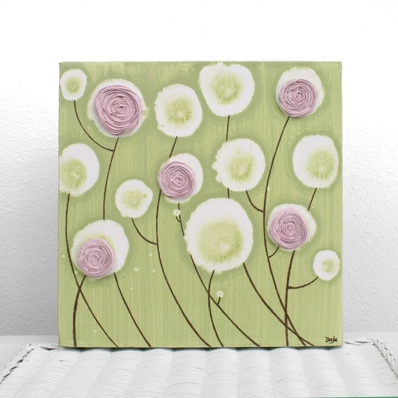 Canvas Wall Art for Pink and Green Girls Room Small by Amborela