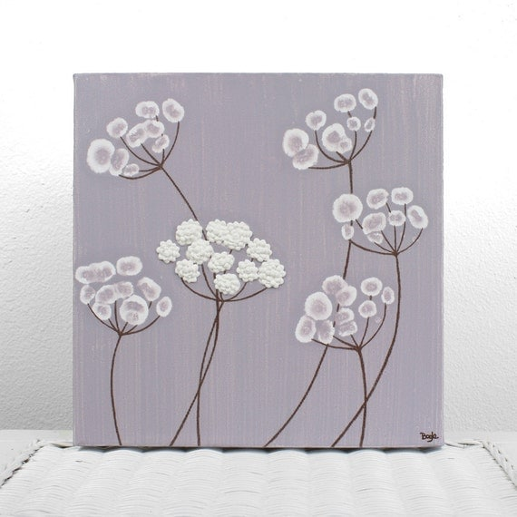 SALE - Purple Nursery Canvas Art - Textured Acrylic Painting of Flowers - Lavender and White Square Wall Art 10X10 - IN STOCK