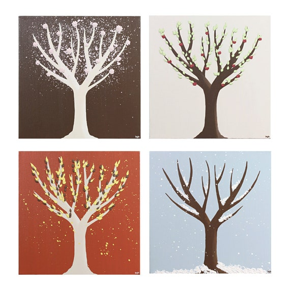Reserved Listing - Set of Tree Paintings in the Four Seasons  - 25X25 Canvas Wall Art