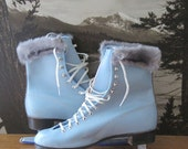 Vintage Blue Ice Skates with Tote