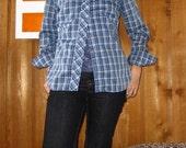 Women's blue plaid western shirt
