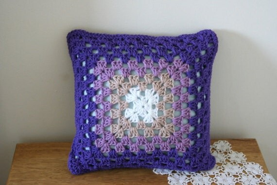 Two sides Violet and Purple crochet pillow