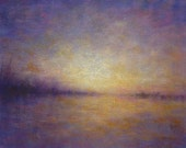Landscape Painting Sunset In the Gloaming purple yellow gold