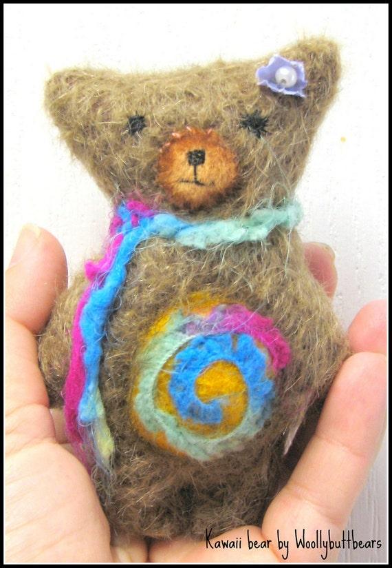 sale Rainbow swirls Kawaii teddy bear by artist woollybuttbears on etsy