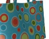 Concentric circles handbag,  turquoise, blue, yellow, green, orange