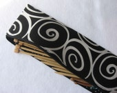 Knitting needle case, storage pouch Black and white  iron work print  fabric by Alexander Henry
