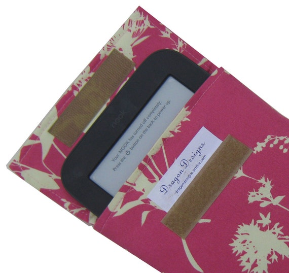 Nook Simple Touch, new small Kindle, sleeve, case, cover, pink wildflowers fabric  by Joel Dewberry