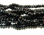 Black spinel faceted rondelle beads, 2.6 to 3mm, half strand, free US shipping