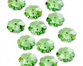 Swarovski 6mm Peridot Crystal Margeurite Lochrose flower, 22 beads - destash