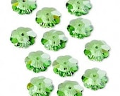 Swarovski 10mm Peridot Crystal Margeurite Lochrose Flower, 22 Beads - destash