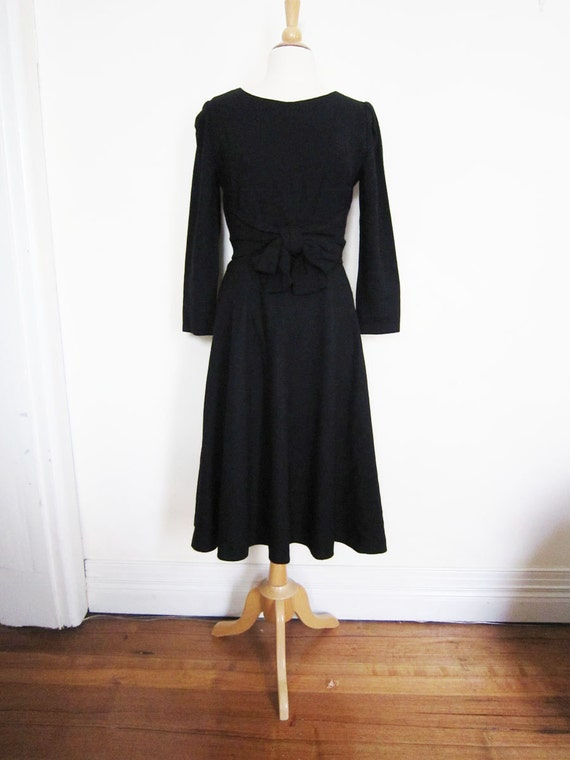 1980s Black Wool Dress