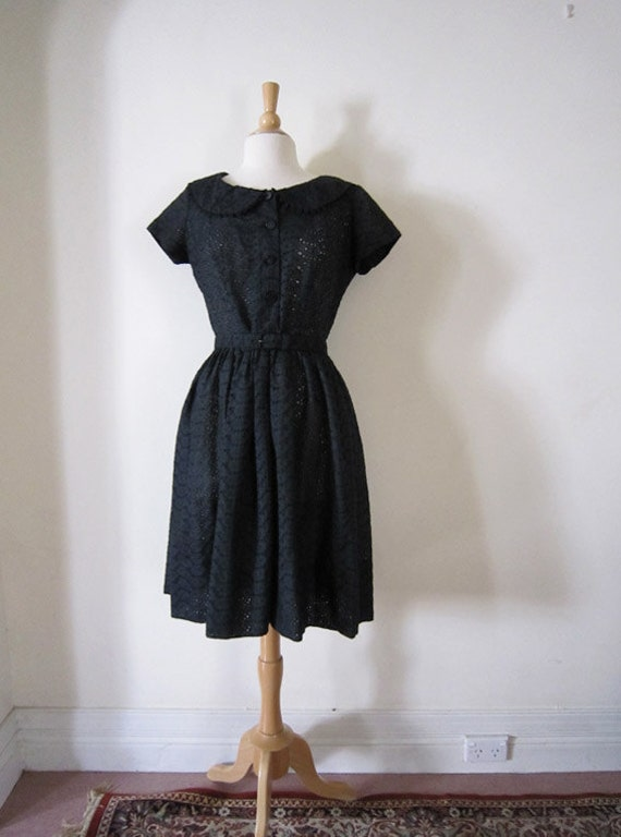 1960s 1950s Black Eyelet Cotton Sun Dress