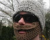 Grey Mustache Bearded Beanie Hat - Ships Free