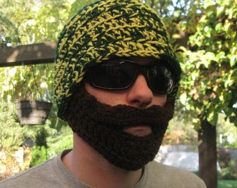 Green and Yellow Mustache Bearded Beanie - Ships Free