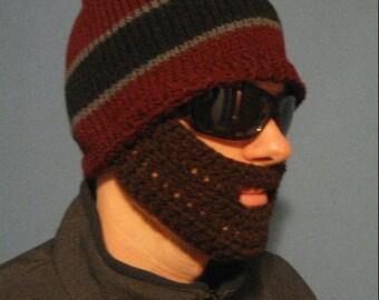 Maroon Striped Beard Beanie - Ships Free