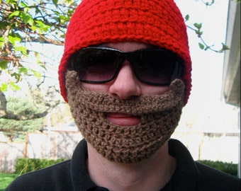 Red Mustache Bearded Beanie - Ships Free