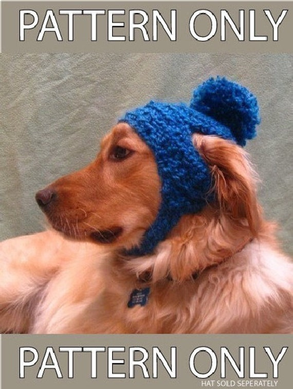 Crochet Pattern For Dog Hat With Ear Holes : PDF Crochet Pattern for Poofball Dog Hat Digital File Download