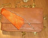 Spike upcycled leather clutch wallet