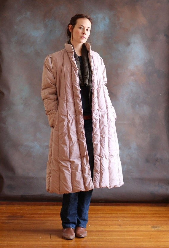 Women's Long Puffy Mauve Pastel Down Winter by GuardianVintage