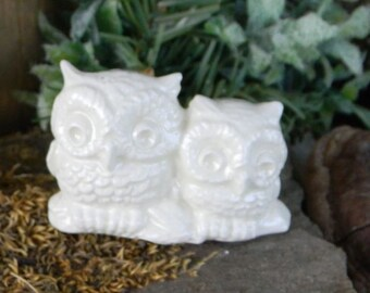 Owl Wedding cake topper White OWLS  Miniatures on a Log Ceramic Glazed or terrarium Snow owls #2log
