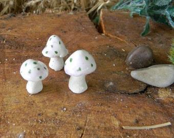 micro Ceramic mushroom miniatures 3  .. ..  terrarium or miniature gardens TINY  less than 1 inch tall