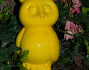 Modern  Owl - Ceramic glazed Horned  Hoot owl Home and garden statue Sunshine  Spring Yellow ready to ship