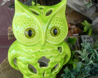 Owl  Nursery Night Light Tv Lamp Fruit Apple Green   Vintage Style  night light Hooter With a bloom  heart Bright Modern    ol