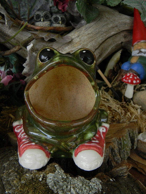 Vintage Style Ceramic Frog In Hi Top Converse Tennis Shoes