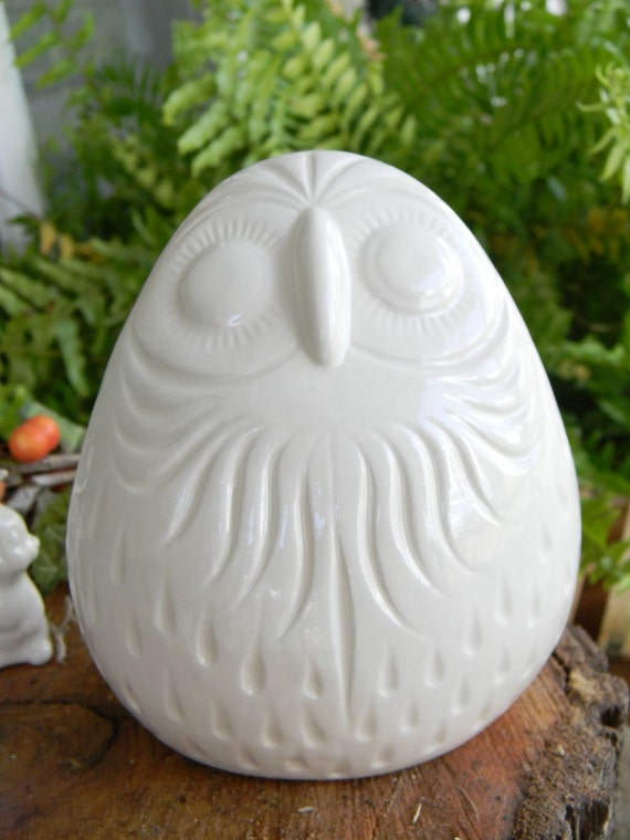 Vintage style White or yellow Glazed INCA Owl with swirls ceramic modern chic hoots