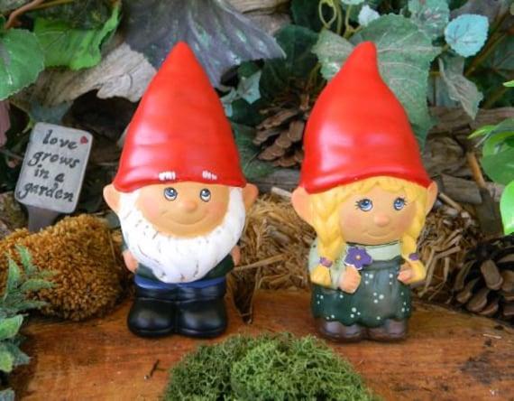 Female Garden Gnomes: Garden Gnome Couple Girl Boy Set You Choose Colors Male