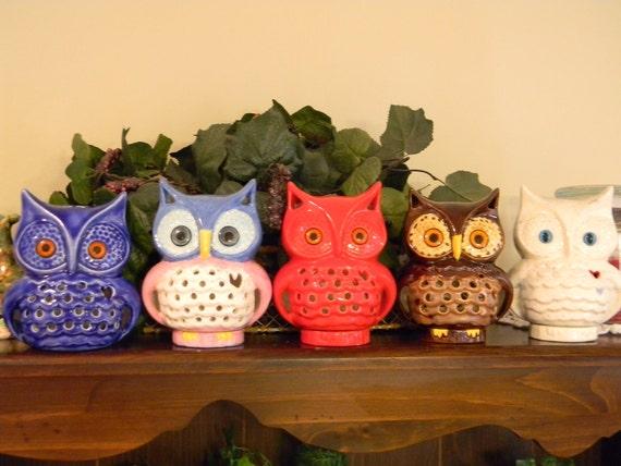 Woodland Owl TV Lamp Vintage Style  Night Light  Blue Moon Owl with light cord