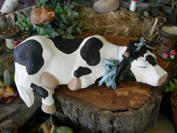 Lazy Cow Shelf Setter Hand Painted Ceramic statue - Inside or outside