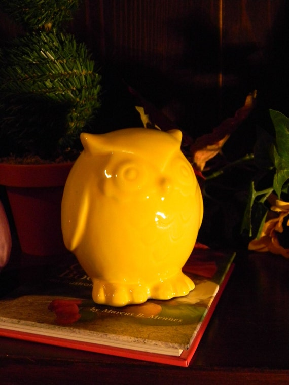 Ceramic  Glazed OWL sunshine  Yellow ...Owlet Cake Topper
