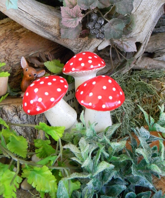 3 Ceramic Mushrooms  stakes . Glazed red amanita muscari fly shrooms vintage mold & Gnome Home Sign