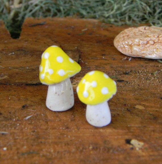 2 Ceramic Pottery Mushroom Yellow  Polka dot speck  Miniature ceramic glazed  fairy, gnome dollhouse garden statues hand made - amanita fly