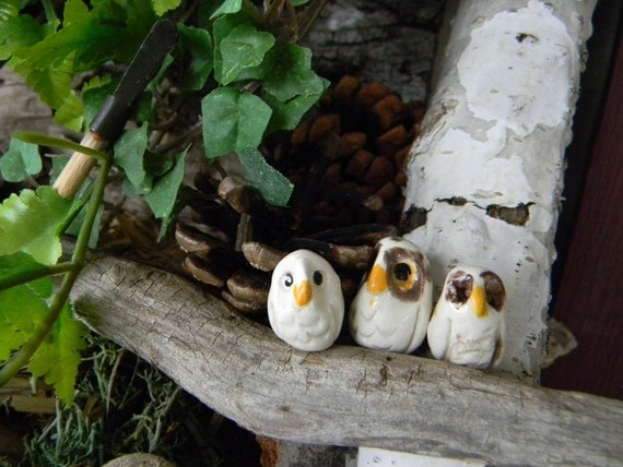 3 OWL Miniature   Woodland Terrarium Animal speckled, spotted and white  hand sculpt tiny owls set of 3 less than 1 inch tall