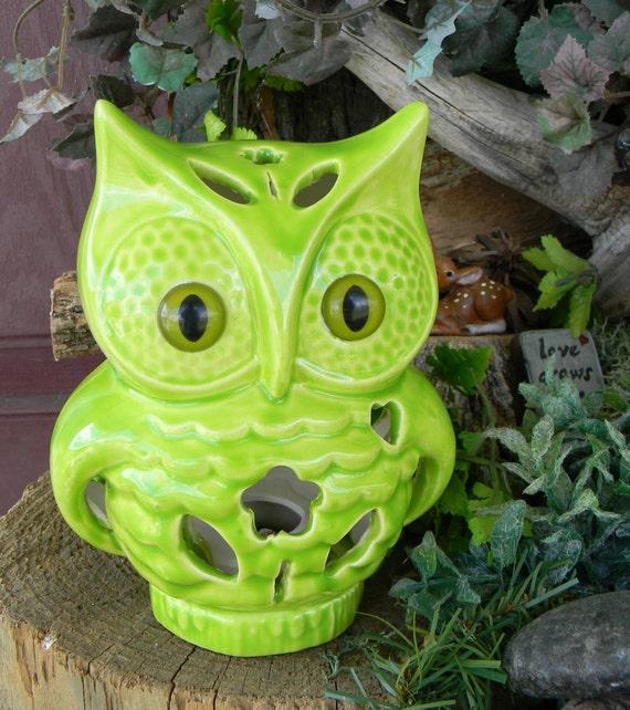 Owl  Nursery Night Light Tv Lamp Fruit Apple Green   Vintage Style  night light Hooter With a bloom  heart Bright Modern    ol