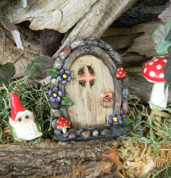 Fairy or Gnome DOOR Terrarium Miniature Ceramic Hand built red mushroom