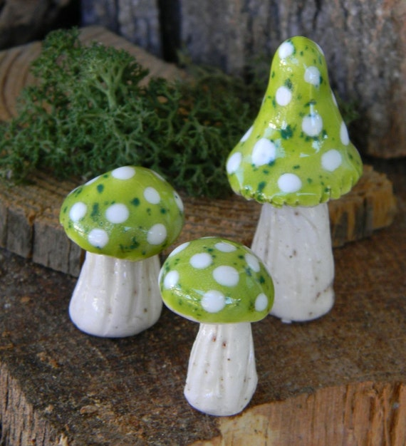 3 ceramic mushroom miniatures 3  Green .. ..  terrarium or miniature gardens