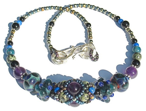 Diamond Net Beaded Bead Necklace with Borosilicate Glass, Amethyst, Kyanite, Sterling Silver