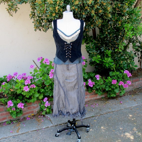 SALE 65  Black Cotton Corduroy Vest with Pure Silk Lining