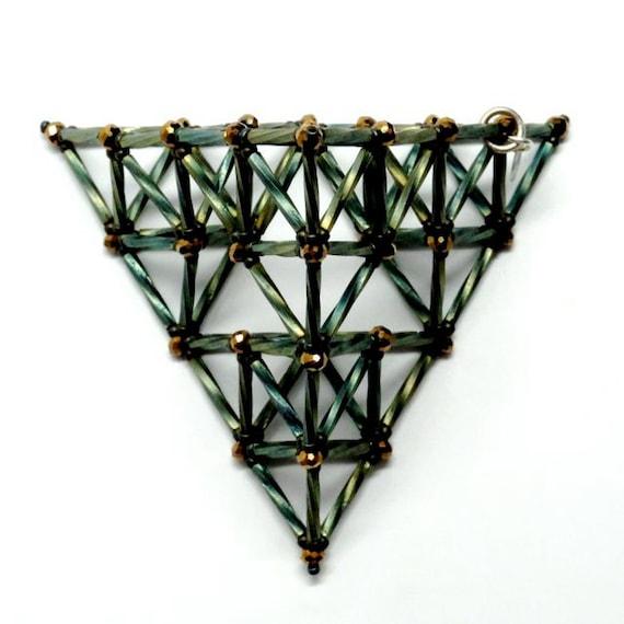 Second Generation Sierpinski Tetrahedron VI -- Beaded Art Object Sculpture