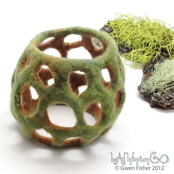 Textile Cuff Bracelet No. 38 Green Earth Wet Felt with Merino Wool Silk