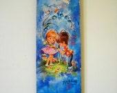 Vintage childrens illustration wall plaque