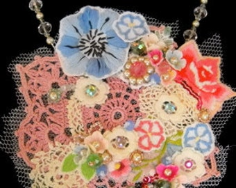 "Vintage Doily necklace ""Spring"""