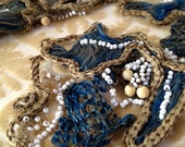 Old Antique Vintage French Couture Dress Beaded Trim