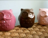 Ceramic OWLS, home decor, chocolate, pink, raspberry
