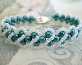 Beaded Pearl Bracelet in Teal and White (Made To Order) - Handmade Beadwork Seed Bead RAW
