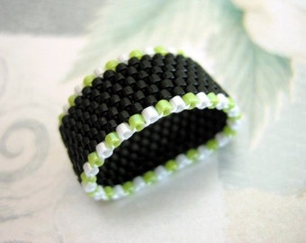 Peyote Ring in Black, White and Lime Green Seed Bead Band Beaded Beadwoven -  size 4, 5, 6, 7, 8, 9, 10, 11, 12, 13